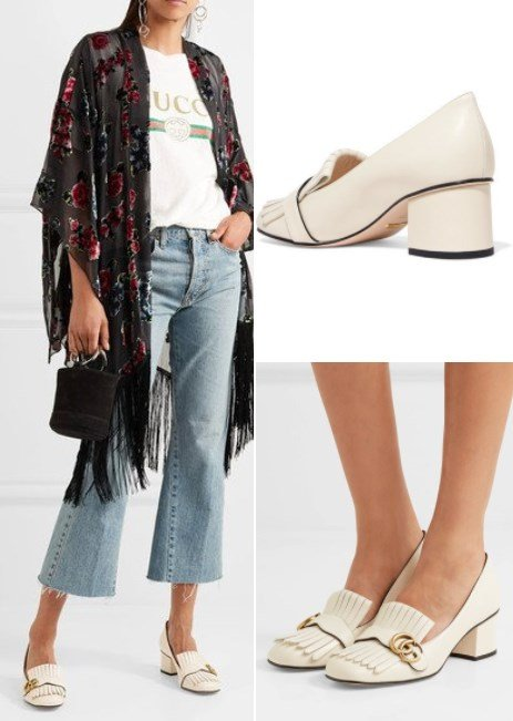 Gucci Marmont Beautiful Fringed White Leather Pumps