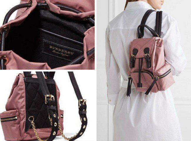 BURBERRY SMALL LEATHER-TRIMMED ROSE GABARDINE BACKPACK 30f757dd44b81