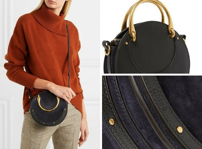 CHLOÉ PIXIE SUEDE AND TEXTURED-LEATHER STUNNING SHOULDER BAG