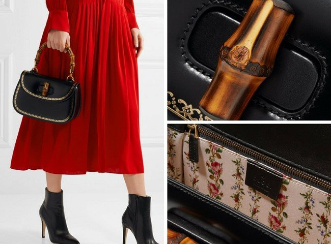 GUCCI Bamboo Classic 2 embellished leather tote