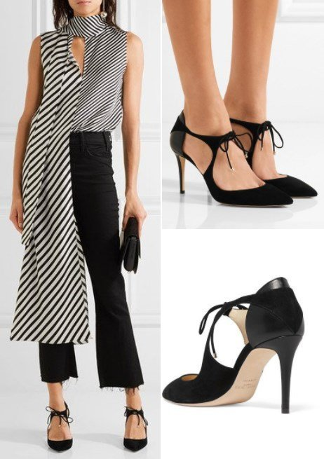 Jimmy Choo Vanessa 85 Cutout Black Suede and Leather Pumps
