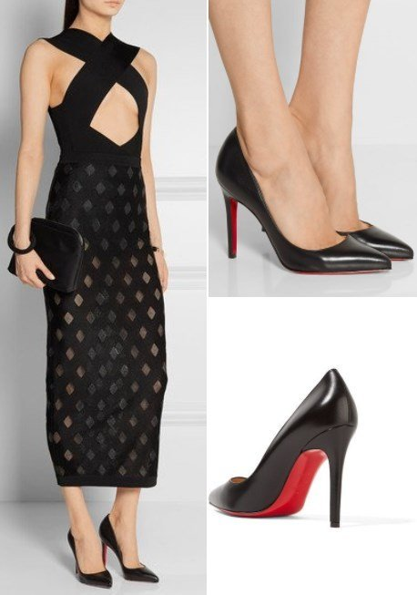 Christian Louboutin Pigalle 100 Black Leather Pumps