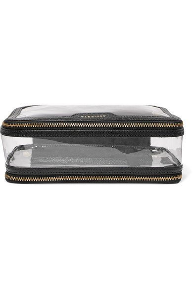 ANYA HINDMARCH Inflight leather-trimmed Perspex stylish cosmetics case