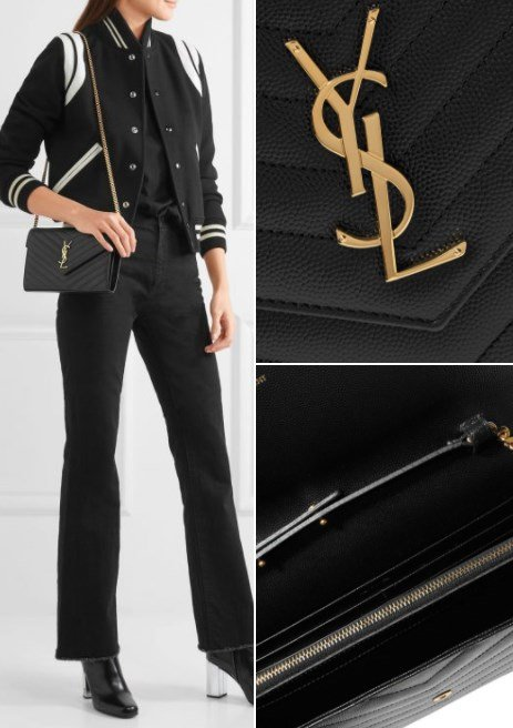 096ca1ab04273 Saint Laurent Monogramme Mini Quilted Textured Leather Shoulder Bag