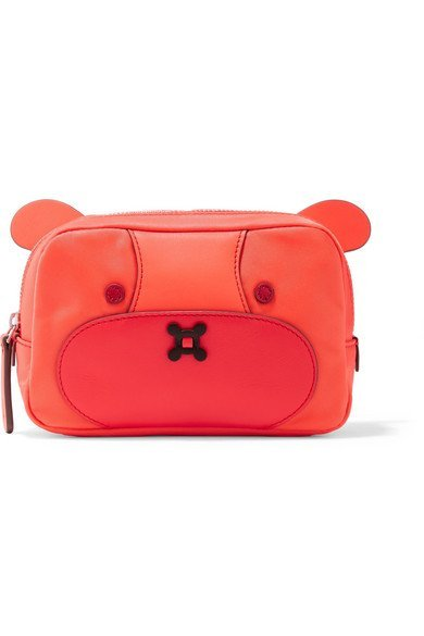 ANYA HINDMARCH fancy Bear leather-trimmed shell cosmetics case