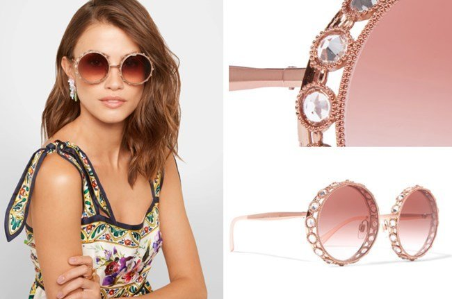 Dolce and Gabbana Swarovski Crystal Embellished Round Frame Rose Gold-Tone Sunglasses