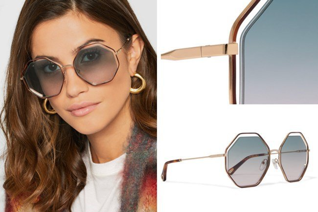 Chloe Poppy Octagon Frame Acetate Gold-Tone Sunglasses