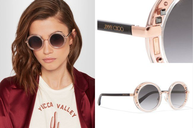 Jimmy Choo Round Frame Embellished Rose Gold-Tone Sunglasses