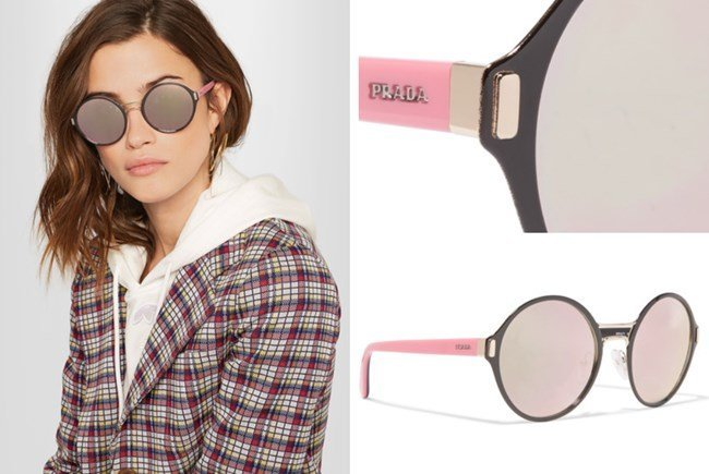 Prada Round Frame Acetate Gold-Tone Mirrored Sunglasses