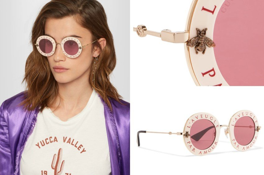Gucci Women's Round Frame Acetate Gold-Tone Sunglasses