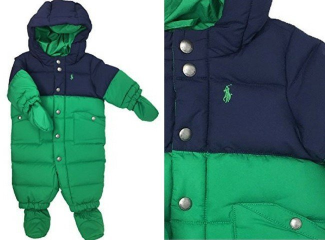 Ralph Lauren Baby Boys Feather Down Snowsuit French Navy Blue Green