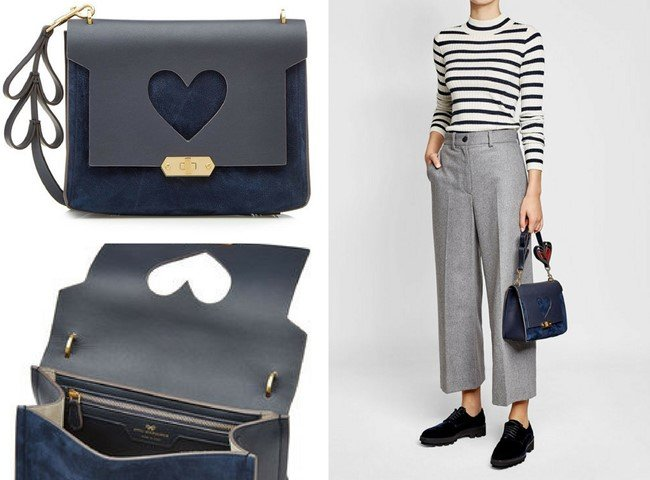 ANYA HINDMARCH Extra Small Bathurst Heart Shoulder Bag with Leather and Suede