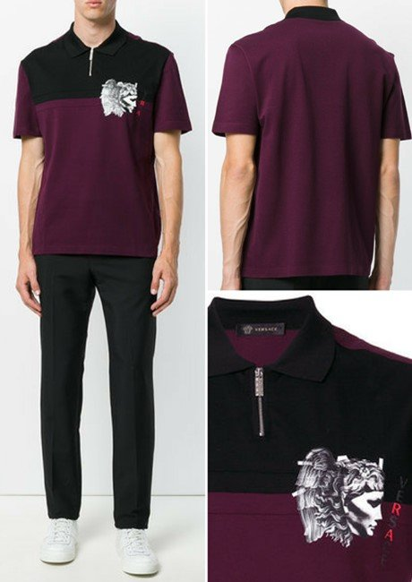 VERSACE zip polo shirt