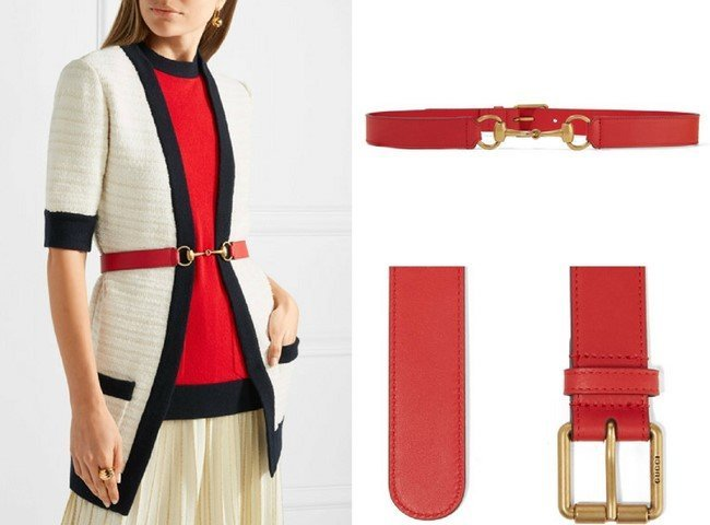 GUCCI CHARMING HORSEBIT-DETAILED RED LEATHER BELT
