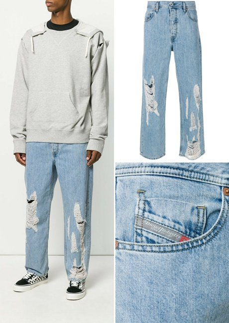 DIESEL distressed loose-fit jeans