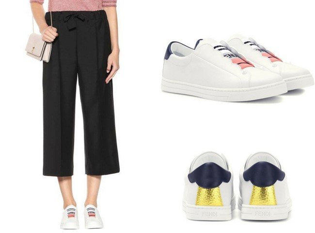 FENDI Leather slip-on sneakers
