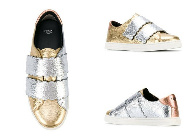 FENDI laminated leather sneakers