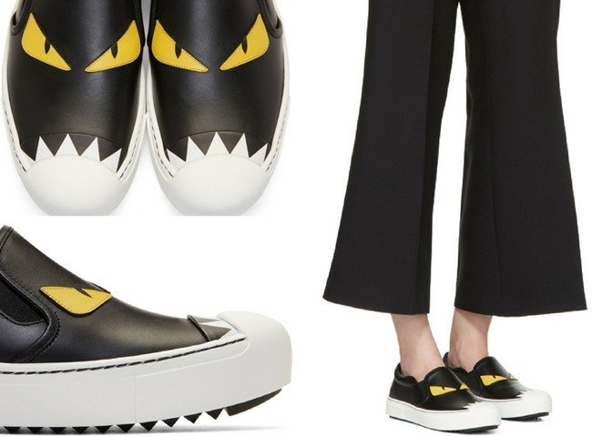 Fendi Black 'Bag Bugs' Slip-On Sneakers