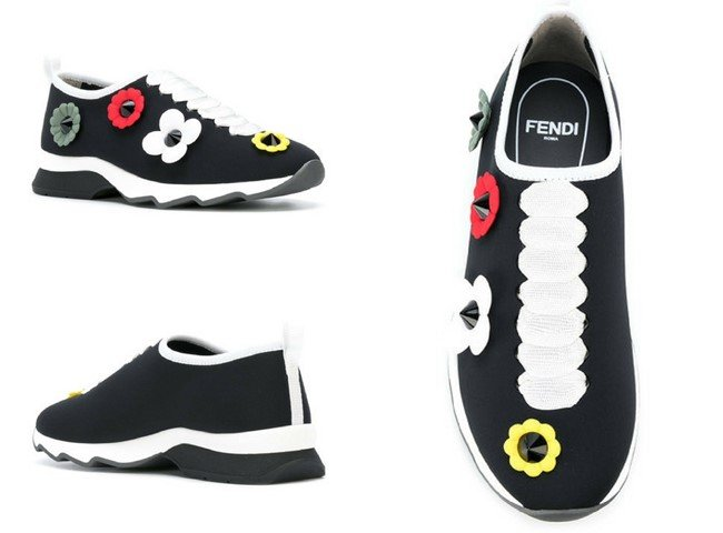 FENDI slip-on sneakers with flowers