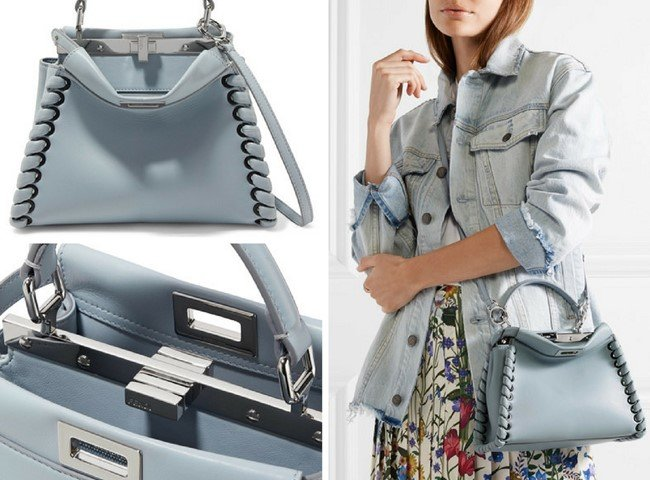 aa88a620f2e8 FENDI PEEKABOO MINI WHIPSTITCHED LIGHT-BLUE LEATHER SHOULDER BAG