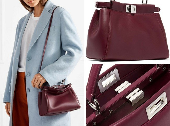 FENDI PEEKABOO MINI BURGUNDY LEATHER SHOULDER BAG