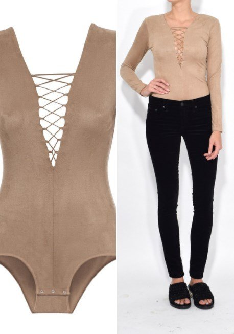 T BY ALEXANDER WANG Camel Stretch Faux Suede Lace-Up Bodysuit