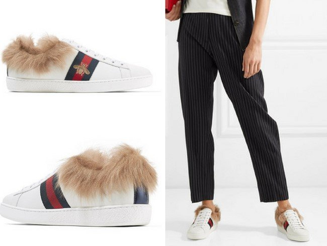 GUCCIAce shearling-lined embroidered leather sneakers