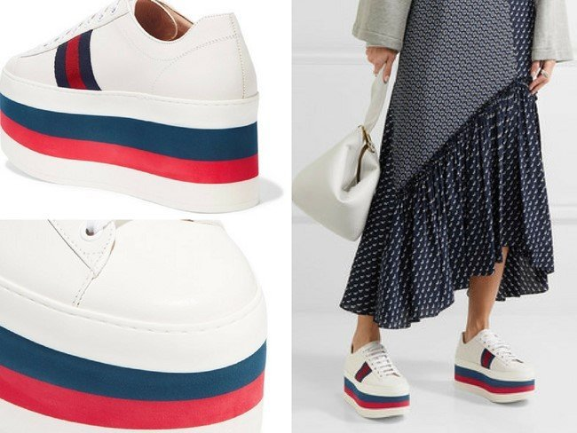 GUCCI STUNNING WHITE LEATHER PLATFORM SNEAKERS