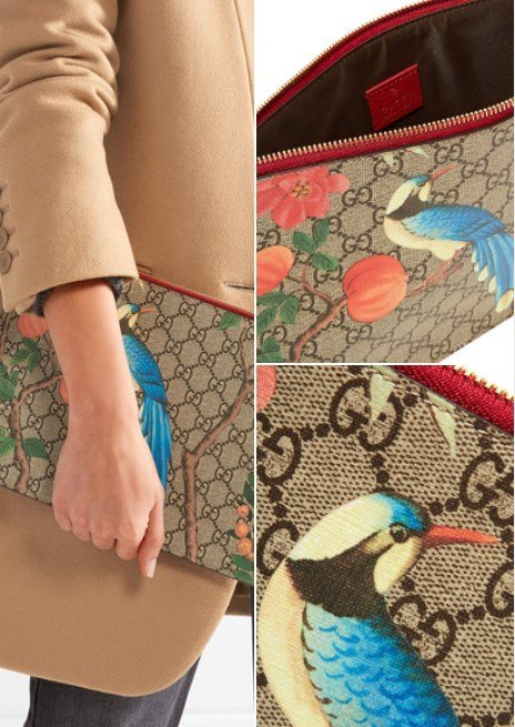 Gucci Printed Coated-Canvas Textured Leather Pouch