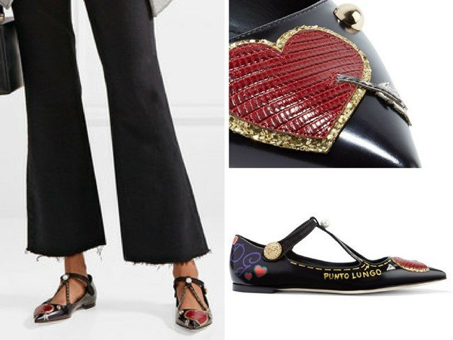 DOLCE & GABBANA PLAYFUL EMBELLISHED PRINTED GLOSSED-LEATHER POINT-TOE FLATS