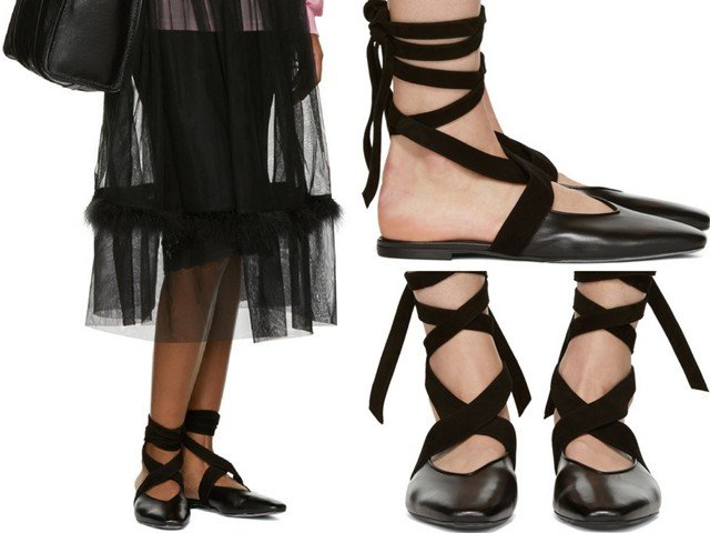 JW Anderson Black Lace-Up Ballerina Flats