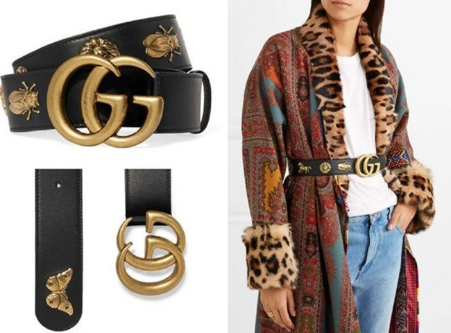 Gucci Embellished Black Leather Glamorized Belt