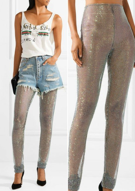 Gucci Crystal-Embellished Stretch-Mesh Luxury Leggings
