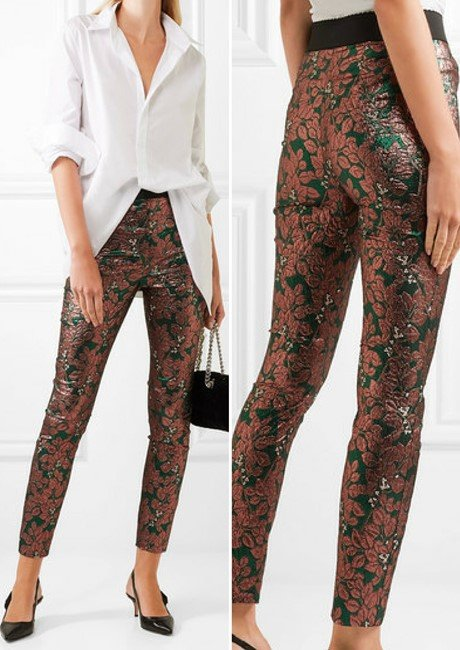 Dolce & Gabbana Sleek Metallic Jacquard Leggings