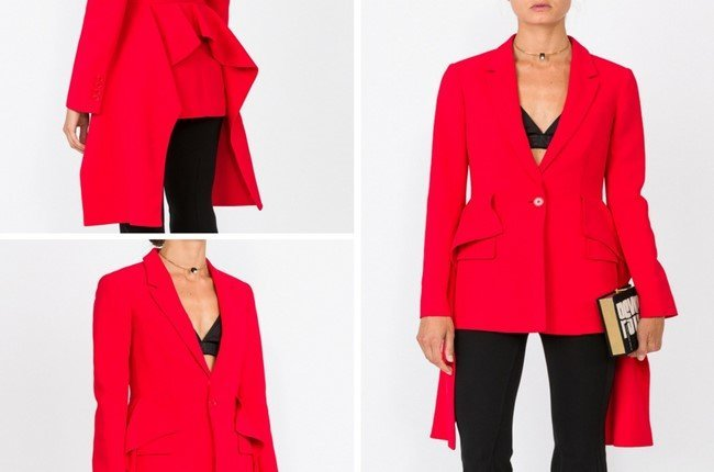 GIVENCHY Red Flared Panel Blazer