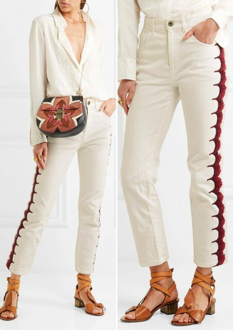 Chloé Cute Cropped Embroidered High-Rise Straight-Leg Jeans