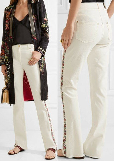 Etro Enticing Embroidered High-Rise Bootcut Jeans