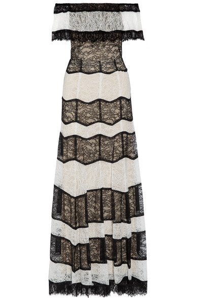 ALICE + OLIVIA Anika gorgeous off-the-shoulder corded lace gown