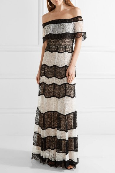 ALICE + OLIVIA Anika gorgeous off-the-shoulder corded lace gown 2