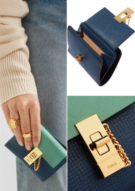 Chloe Drew Two-Tone Textured Leather Wallet