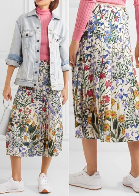 Gucci Lovely Pleated Floral-Print Silk-Crepe Midi Skirt