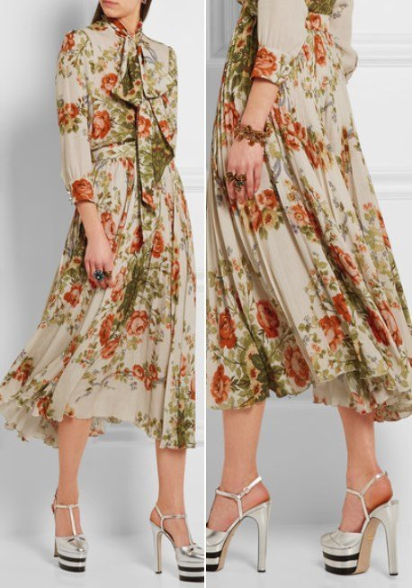 Gucci Pleated Lovely Floral-Print Silk Midi Skirt