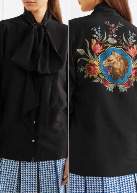 Gucci Lovely Pussy-Bow Printed Black Silk Blouse