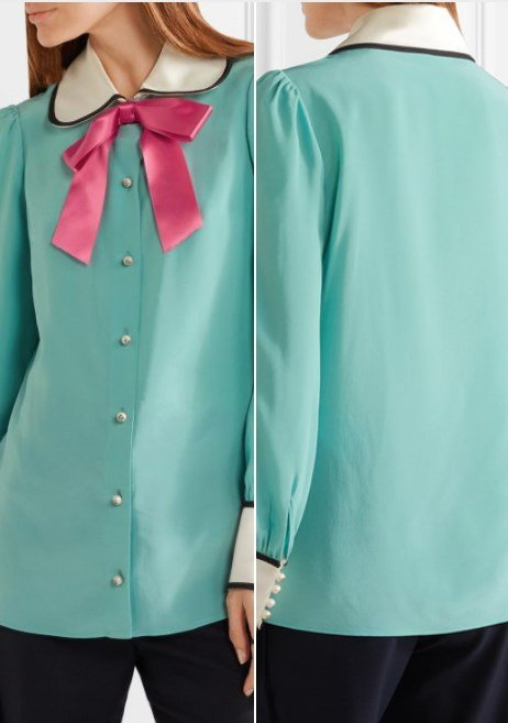 Gucci Bow-Embellished Satin-Trimmed Blue Silk Crepe De Chine Blouse
