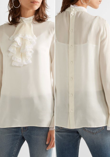 Gucci Pretty Ruffled Lace-Trimmed White Silk-Georgette Blouse