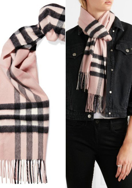 Burberry Soft Fringed Checked Cashmere Scarf