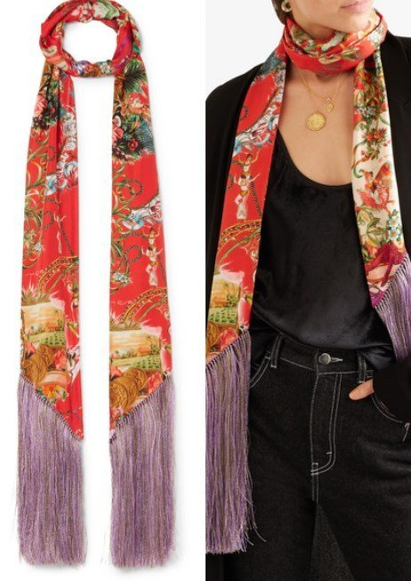 Etro Fringed Printed Silk Satin Scarf