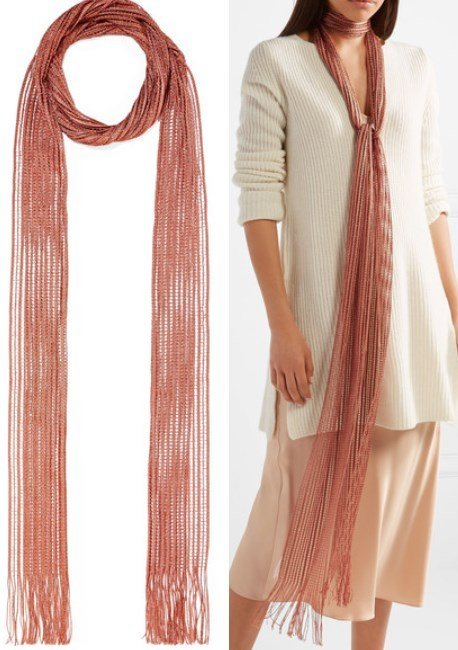 Chloe Metallic Fringed Crochet-Knit Scarf