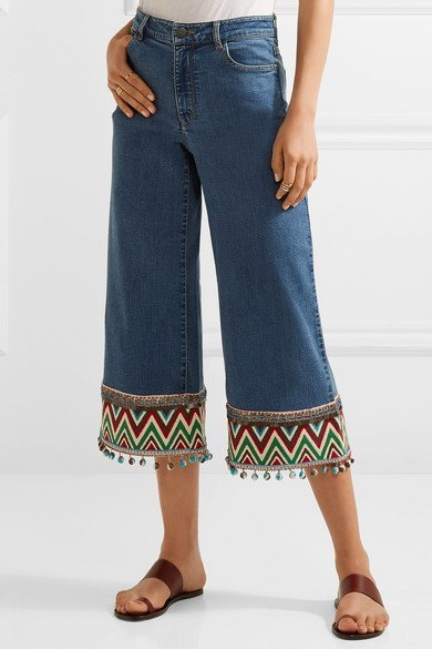 ALICE + OLIVIA Beta trendy cropped embroidered high-rise wide-leg blue jeans 2