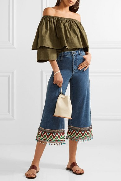ALICE + OLIVIA Beta trendy cropped embroidered high-rise wide-leg blue jeans 1